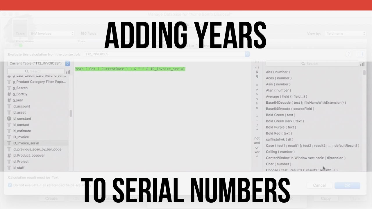 Filemaker Pro Courses adding years to serial numbers | filemaker pro 15 videos | filemaker 15  training