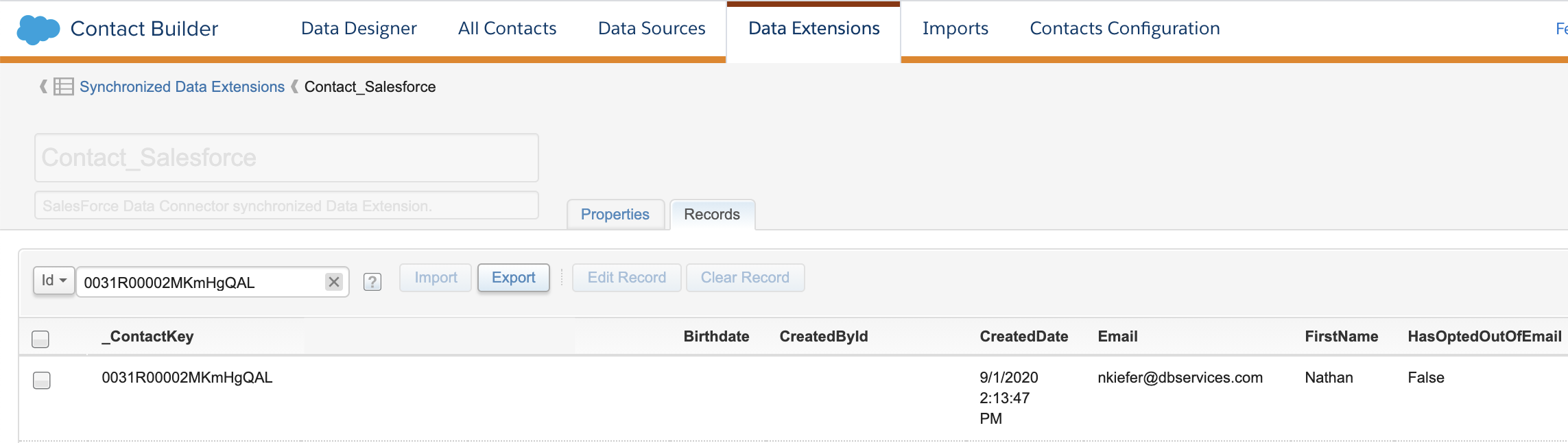 Sales Cloud Contact Synced to Marketing Cloud Example