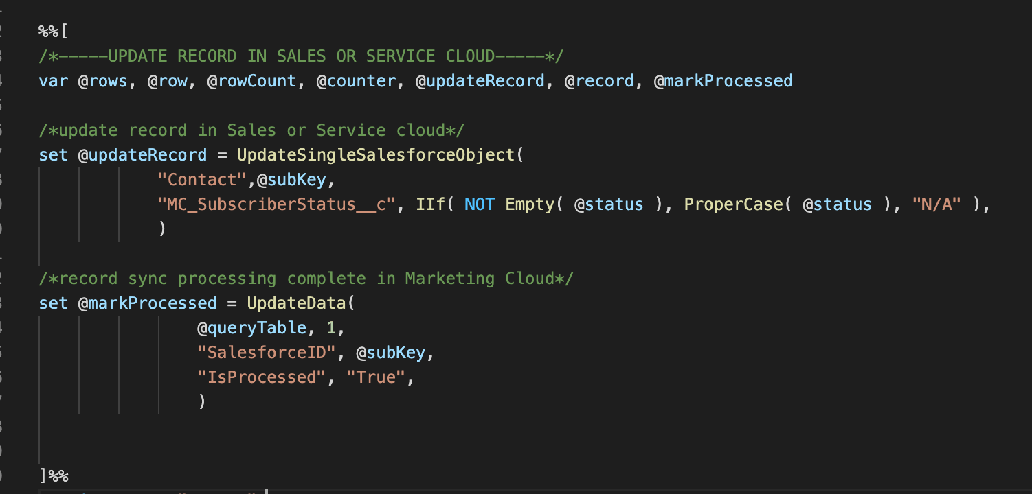 Example Ampscript to Update Salesforce Object